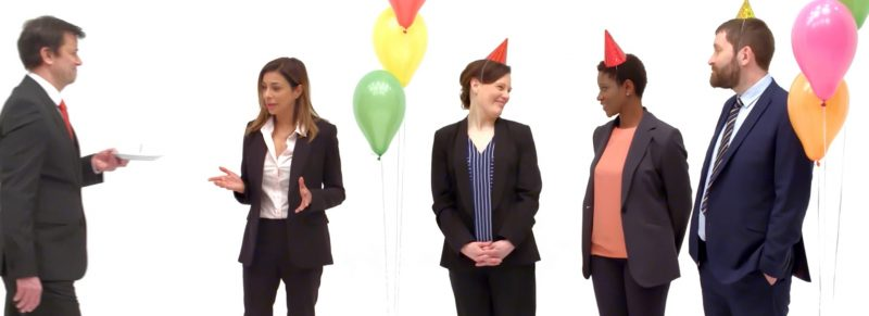 Screengrab from Leadership Ethics with balloons